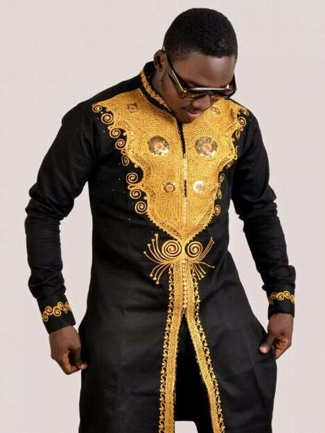 Black And Gold Suit : black, Black, African, Clothing, Kaftan, Shirt, Pants, Africa, Blooms