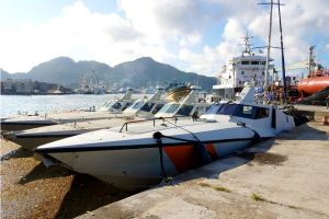 Gunboats in the Seychelles.