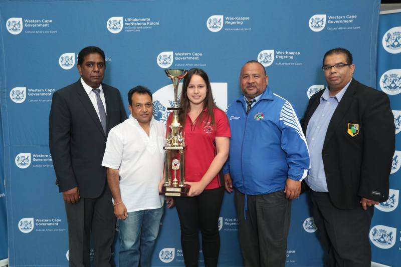 Vice President Shanks Naidoo, Head of Youth Commission - Vicky Magu, Jesse February, Dignitary from the Provincial Government and Winston Dalphat, President of Eastern Cape Chess