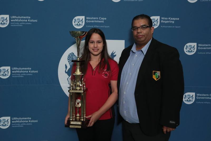 Jesse February and the President of Eastern Cape Chess, Winston Dalpat.