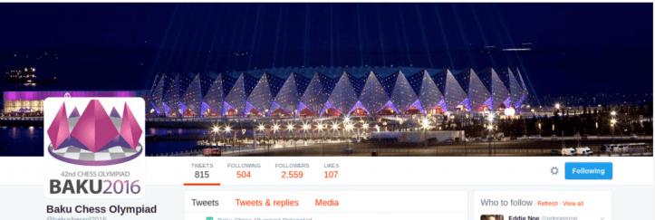 Baku Chess Olympiad main Twitter account