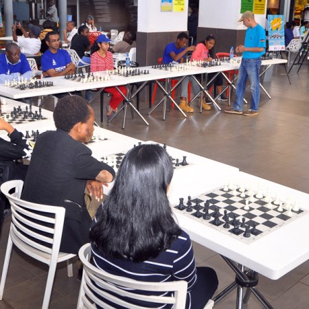 """A big part of the food court was transformed into a """"chess arena"""""""