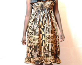 Mini dress with dentelles african fabric