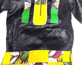 chemise noir jaune tissus africain