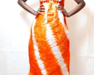 robe orange blanc bazin africain