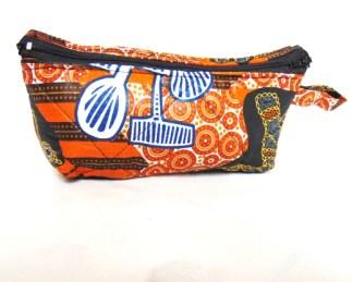 vanity case african fabric orange colore