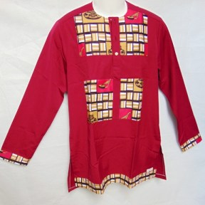 shirt long sleeve burgundy africadada