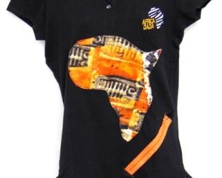 polo noir femme tissu africain