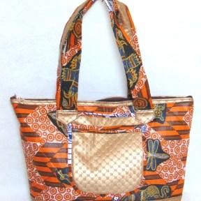 woman handbag grey orange