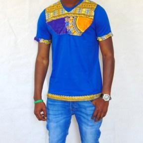 t-shirt bleu orange