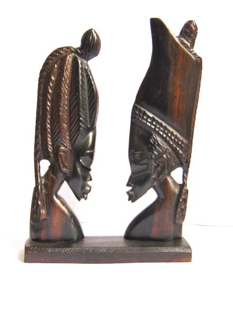 ebony wooden statuette couple