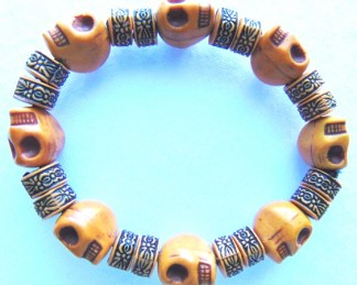 skull bracelet brown