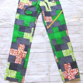 pantalon vert tissu wax