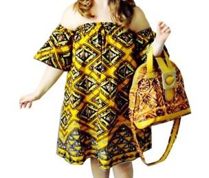 African print off shoulder dresses