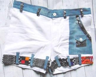 mini short matelot bianco tessuto afro