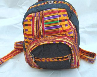 sac a dos tissus africain orange
