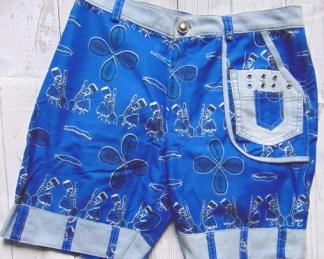 short tissu afro bleu