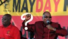 President Jacob Zuma sings at a rally celebrating Workers' Day at Galeshewe Stadium in Kimberley in the Northern Cape  on Wednesday, 1 May 2013. Also pictured is Cosatu president Sdumo Dlamini.  Picture: GCIS/SAPA