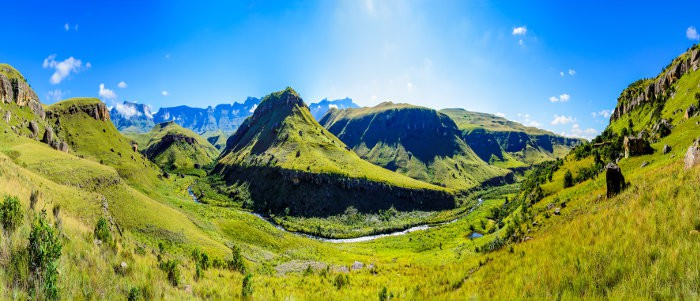 Panoramic view of Giants Castle in the Drakensberg mountains