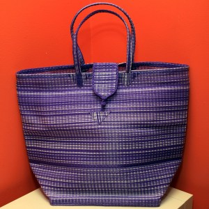 Purple & White - Multipurpose hand-made woven plastic tote bag