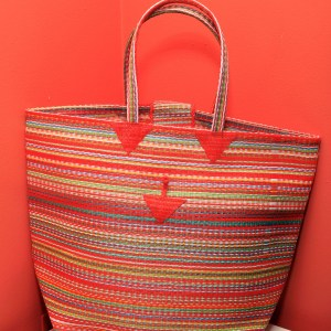 Multicolored Orange - Multipurpose hand-made woven plastic tote bag