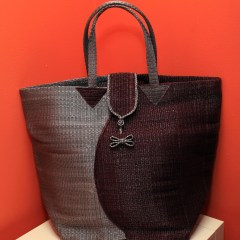 Silver & Brown - Multipurpose hand-made woven plastic tote bag
