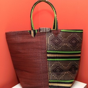 Brown & Green - Multipurpose hand-made woven plastic tote bag