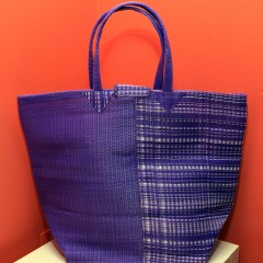Mixed Purple & White - Multipurpose hand-made woven plastic tote bag