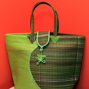 Multicolored & Green - Multipurpose hand-made woven plastic tote bag