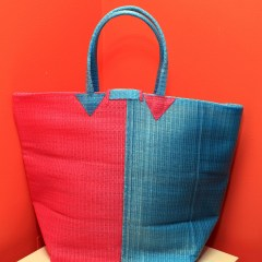 Pink & Light Blue - Multipurpose hand-made woven plastic tote bag