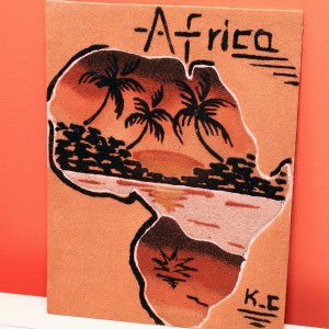 Africa & Palm Tree - Sand Painting