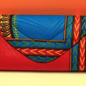 Blue & Red African Fabric Small Purse