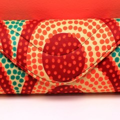 Green, Red and Orange Dots African Fabric Small Purse