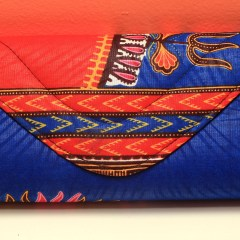 Dark Blue & Red African Fabric Small Purse