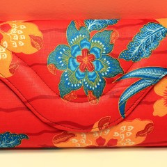 Red with Blue & Orange Flowers African Fabric Big Purse