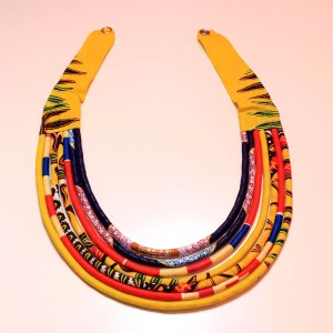 Purple, Yellow & Red Handmade African Print Fabric Necklace