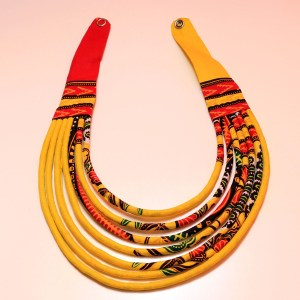 Red, Yellow & Brown Handmade African Print Fabric Necklace