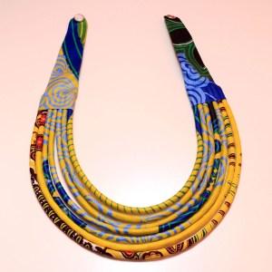 Yellow, Blue, Green & Black Handmade African Print Fabric Necklace