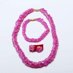 Light Pink Handmade African Beaded Necklace Set