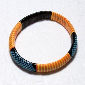 Yellow & Orange Stripes African Plastic Bracelet