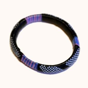 Purple & Blue African Plastic Bracelet