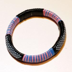 Blue & Pink Stripes African Plastic Bracelet