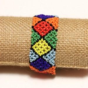 Multicolored 3 African Handmade Elastic Beaded Bracelet
