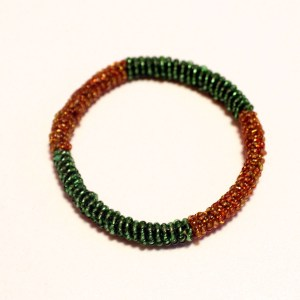 Green & Gold African Beaded Bracelet - Round