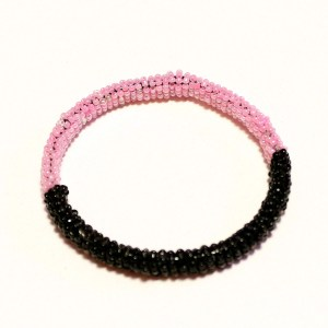 Black & Pink African Beaded Bracelet - Round