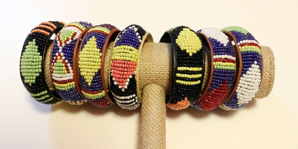African Beaded Leather Bracelet