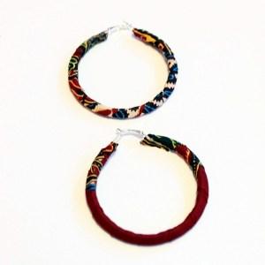 Red, Blue, White & Yellow African Print Bracelet & Earrings Set