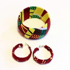 Dark Green, Yellow and Red African Print Bracelet & Earrings Set