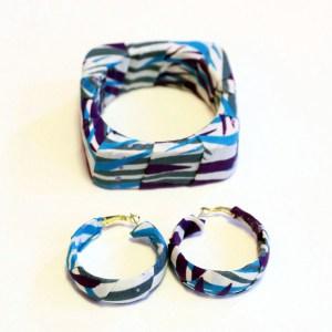Blue & Purple African Print Bracelet & Earrings Set