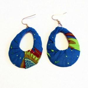 Brown, Light Green & Blue African Print Bracelet & Earrings Set
